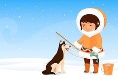 Kleines Inuitmädchen und ihr Hund Stockfotografie