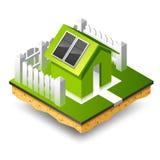 Kleines isometrisches Haus mit Sonnenkollektor Stockfotos