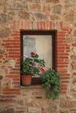 Kleines italienisches Fenster mit netter roter Pelargonie, Italien Stockbilder