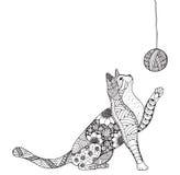 Kleines Kätzchen und Schlaufe des Threads Katzenspielen Zentangle stilisieren vektor abbildung