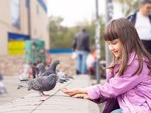 Kleines kaukasisches Mädchen und Tauben Stockbild