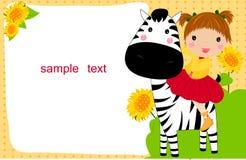 Kleines Kind auf einem Zebra stock abbildung