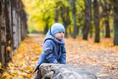 Kleines Kinderjunge 1 Jahre alte Wege auf gefallenen Blättern Stockbilder