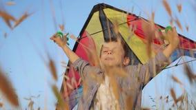 Kleines Kinderjungenspielfliegen in der glücklichen sorglosen Freiheitsunschuld des Flugzeuges der Kindheit stock video footage