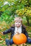 Kleines Kleinkind mit großem orange Kürbis im Garten Lizenzfreie Stockfotos