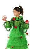 Kleines lächelndes Mädchen mit Dekoration des Weihnachten zwei Lizenzfreies Stockfoto