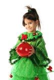 Kleines lächelndes Mädchen mit Weihnachtsdekoration Lizenzfreie Stockbilder