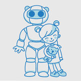 Kleines lineares Mädchen mit inländischem pädagogischem Roboter Stockfotografie