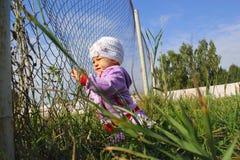 Kleines lustiges Mädchen mit Zaun Stockfotografie