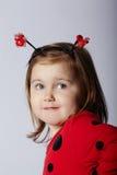 Kleines lustiges Mädchen im Marienkäferkostüm Stockfotografie