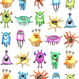 Kleines lustiges Monster-Aquarell-nahtloses Muster Lizenzfreies Stockbild