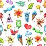 Kleines lustiges Monster-Aquarell-nahtloses Muster Stockbilder