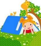 Kleines Mädchen auf Buchzelt stock abbildung