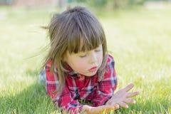 Kleines Mädchen auf dem Gras lizenzfreie stockfotografie