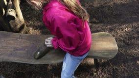 Kleines Mädchen auf dem Schwingen stock footage