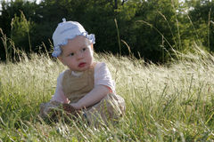 Kleines Mädchen auf sonniger Wiese stockfotografie