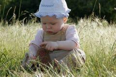 Kleines Mädchen auf sonniger Wiese lizenzfreie stockfotos