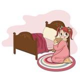 Kleines Mädchen bereitet sich für Schlaf vor Stockfotos