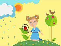 Kleines Mädchen betrachtet Damenwanze und benutzt ein optisches Vergrößerungsglas, Studie in der Kindheit, Stockfotos