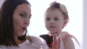 Kleines Mädchen betrachtet Insekt mit Überraschung, junge Mutter, die Griffe Schmetterling in der Hand für Tochternahaufnahme leb stock video