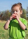 Kleines Mädchen, das Apfel isst Stockbild