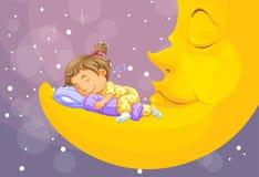 Kleines Mädchen, das auf dem Mond schläft stockfotos