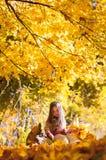 Kleines Mädchen, das auf einer Anmeldung den Herbstpark sitzt Lizenzfreies Stockfoto