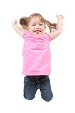 Kleines Mädchen, das auf getrennt springt Stockbilder