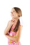 Kleines Mädchen, das auf weißem Hintergrund aufwirft Lizenzfreie Stockfotos
