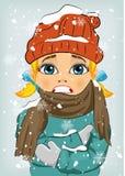 Kleines Mädchen, das in der Winterkälte trägt woolen Hut und Jacke mit Schal einfriert lizenzfreie abbildung