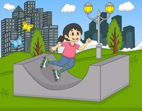Kleines Mädchen, das in die Parkkarikatur-Vektorillustration eisläuft lizenzfreie abbildung