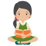 Kleines Mädchen, das ein Buch liest stock abbildung
