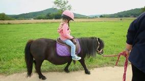 Kleines Mädchen, das ein Pony in der Landschaft reitet stock footage