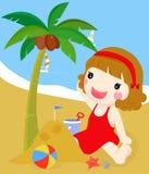 Kleines Mädchen, das ein Sandschloß am Strand aufbaut stock abbildung