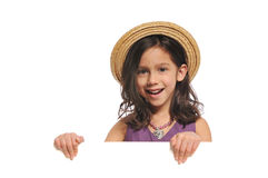 Kleines Mädchen, das ein Zeichen anhält Lizenzfreies Stockfoto