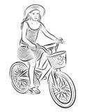 Kleines Mädchen, das eine Fahrradillustration reitet Stockfotos