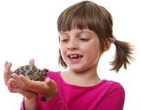 kleines Mädchen, das eine Haustierschildkröte hält Lizenzfreie Stockfotos