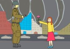 Kleines Mädchen, das einem Soldaten eine Blume gibt Stockfoto