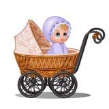 Kleines Mädchen, das in einem Weinlesespaziergänger lokalisiert auf weißem Hintergrund sitzt Vektorkarikatur-Nahaufnahmeillustrat vektor abbildung