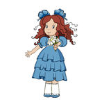 Kleines Mädchen, das einen Blumenstrauß der Kamille gibt Stockfotos
