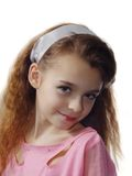 Kleines Mädchen, das Fotobaumuster ausdrückt Stockfotos