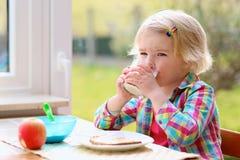 Kleines Mädchen, das gesundes frühstückt Stockfotografie