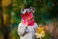 Kleines Mädchen, das ihr Gesicht mit Ahornblatt versteckt Lizenzfreie Stockfotografie