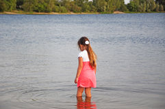 Kleines Mädchen, das im Wasser, Natur, Meer, Sonnenuntergang, Rückseite, Porträt steht Stockbilder
