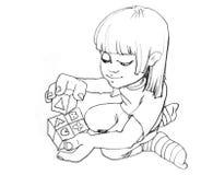 Kleines Mädchen, das mit Blöcken spielt Lizenzfreie Stockfotografie