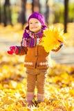 Kleines Mädchen, das mit Herbstblättern spielt lizenzfreie stockfotos