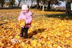 Kleines Mädchen, das mit Laub spielt lizenzfreie stockbilder
