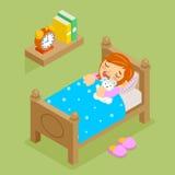 Kleines Mädchen, das mit Teddybären schläft isometrisch Lizenzfreies Stockfoto
