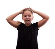 Kleines Mädchen, das seinen Kopf hält Lizenzfreies Stockbild