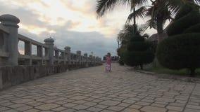Kleines Mädchen, das Spielzeugspaziergänger drückt Mädchen im Kleid gehend auf die Promenade stock footage